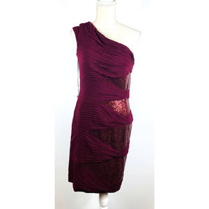 New Women's Tadashi Shoji Sequin Sheath Dress Wine/Red Size S